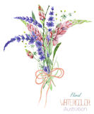 An illustration with a bouquet of the beautiful watercolor bright lupine flowers and lavender flowers, hand-drawn in a watercolor Stock Photo