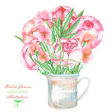 An illustration with a bouquet of the beautiful watercolor red peonies flowers in a rustic jar Royalty Free Stock Images
