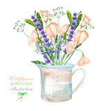 An illustration with a bouquet of the beautiful wildflowers, eustoma and lavender flowers in a rustic jar. Isolated hand drawn in a watercolor on a white Stock Image