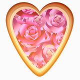 Illustration of bouquet of roses in heart shape background. On white Stock Image