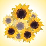 Illustration of bouquet with sunflowers Royalty Free Stock Images