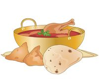 Chicken curry with samosas and naan bread Stock Photography