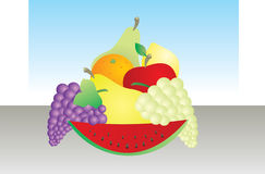 Colorfull Fruit. A illustration of a bowl full of colorful fruit Stock Illustration