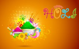 Holi Background. Illustration of bowl full of colorful gulal for Holi background Stock Images
