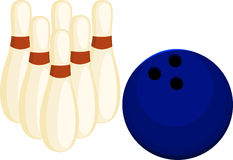 Illustration Bowling ball and pin. On white background Royalty Free Stock Image