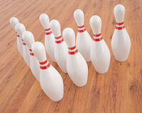 Illustration of bowling pins on a wooden floor Stock Image