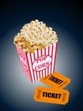 Illustration of box of popcorn with movie tickets. Realistic illustration of red box of popcorn with movie tickets royalty free illustration