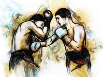 Illustration boxing match. Hand drawn picture Royalty Free Stock Image