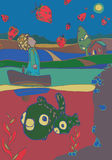 Illustration of boy in boat in a lake with fish Royalty Free Stock Images