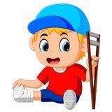 Boy with broken leg. Illustration of boy with broken leg royalty free illustration