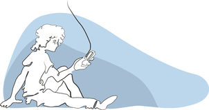 Illustration of a boy and a cell phone. Vector, looking at a message, teenager Stock Images