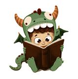 Boy disguised as a dragon reading book. Illustration of boy disguised as a dragon reading at Saint George's Day book fair, Spain Royalty Free Stock Photography