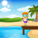 Boy diver standing on beach. Illustration of Boy diver standing on beach Royalty Free Stock Image