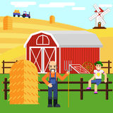 Illustration of a boy and farmer at farm with barn Stock Photography