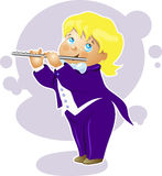 Illustration boy flutist cartoon character Royalty Free Stock Photo