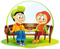 Illustration of boy and girl Stock Images