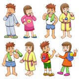 Illustration of boy and girl daily morning life. Stock Photography