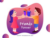 Illustration of a boy giving a gift box to girl on occasion of H. Appy Friendship Day celebration Royalty Free Illustration