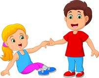 Boy Helping a Girl Stand Up. Illustration of Boy Helping a Girl Stand Up stock illustration