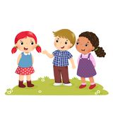 Illustration of a boy Introducing his friend to the girl. Vector illustration of a boy Introducing his friend to the girl vector illustration