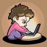 Illustration of a boy with laptop Stock Photo