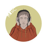 Illustration of a boy listening to music. Royalty Free Stock Image