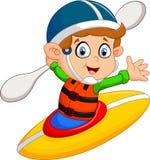 Illustration of boy Maneuvering a Kayak Stock Photography