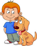 Boy and puppy Stock Photos