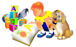 Illustration of boy reading a book with a puppy. royalty free illustration