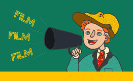 Illustration of boy in retro clothes shouting in megaphone: `Film, Film, Film`. stock illustration