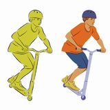 Illustration of a boy on a scooter, vector draw royalty free stock image