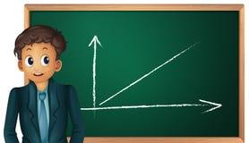 Boy and green board Stock Photos