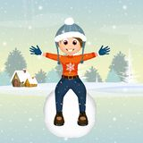 Little boy on snowball. Illustration of boy on snowball in winter landscape Royalty Free Stock Photo