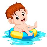 The boy swims in the pool with the ring ball. Illustration of the boy swims in the pool with the ring ball royalty free illustration