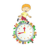 Illustration of boy with time Royalty Free Stock Images
