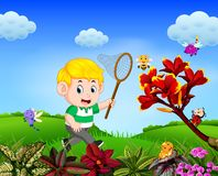 The boy tries to catch a butterfly in the garden. Illustration of the boy tries to catch a butterfly in the garden vector illustration