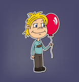 Illustration of boy (vector). Cute small boy holding baloon on blue background, vector Stock Photo
