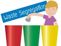 Illustration of a boy Waste Segregation trashs. Illustration of a boy Holding a garbage Standing Beside Waste Segregation Trashs vector Royalty Free Stock Photos