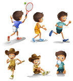 Boys with different activities Royalty Free Stock Images