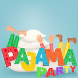 Illustration of boys with pillows having pajama slumber party. Vector card Royalty Free Stock Photo