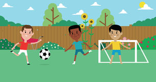 Illustration Of Boys Playing Soccer In Garden Together stock illustration