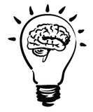 Illustration of brain bulb Stock Image