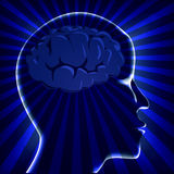 Illustration brain human with ray on turn. Blue background Stock Image