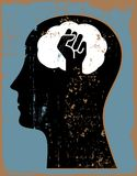 Head profile silhouette with hand up brain stock illustration