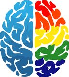 Illustration of the brain stylized by coloring. Right and left brain illustration to symbolize creativity and analytical way of thinking stock illustration