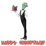 Illustration: The Brain Waiter Comes to wish You Merry Christmas! Do you dare to receive his Gift?. Realistic Fantastic Cartoon Style Character / Holiday Card Stock Photos