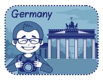 Illustration with Brandenburg Gate in Berlin Royalty Free Stock Image