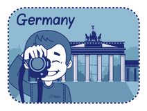 Illustration with Brandenburg Gate in Berlin Royalty Free Stock Photography
