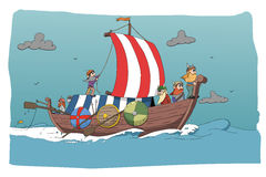 Brave vikings. Illustration of brave nordic people Stock Image