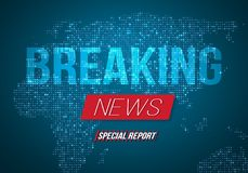 Breaking News Vector Banner on Bright Earth Glowing Globe Background. TV News Opener. Broadcast Design Layout Stock Images